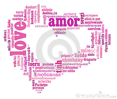 Love info-text cloud various language