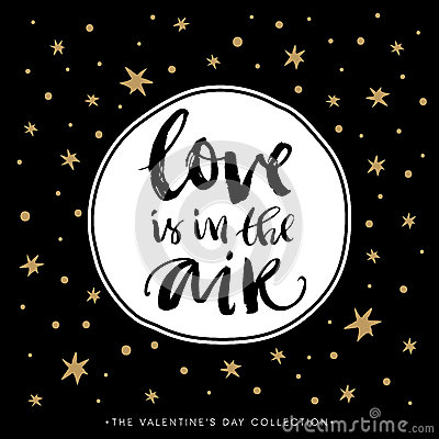 Free Love Is In The Air. Valentines Day Calligraphic Card. Stock Photo - 65314530