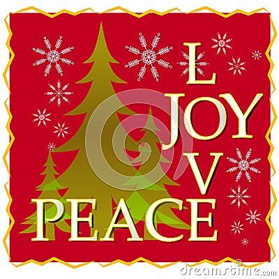 Free Love Joy Peace Christmas Card With Tree And Snow 2 Stock Photos - 3619243