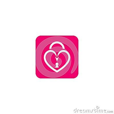 Love key lock icon. Stock Photo