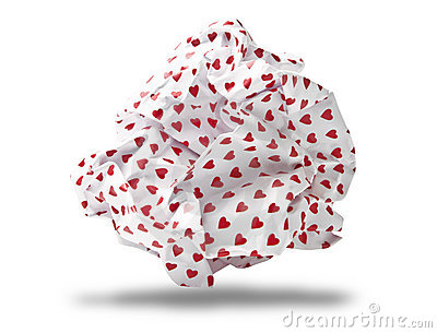 Love letter crumpled to paper ball