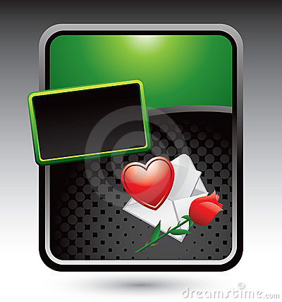 Love letter with rose on green stylized ad