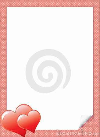 Love letter template with hearts