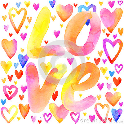 Free Love Lettering Background. Valentines Day Card. Stock Images - 64585724