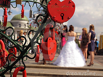 Love locks with bride Editorial Stock Photo