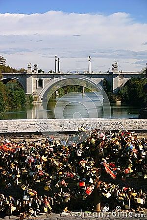 Love locks in rome