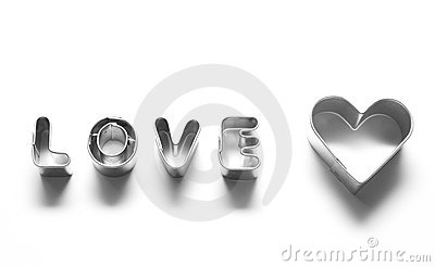 Love message, chrome letters