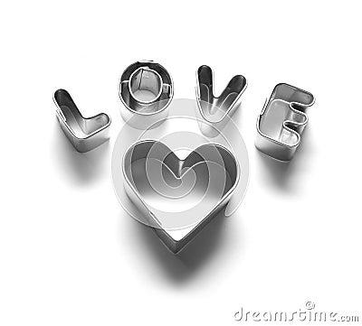 Love message, chrome letters