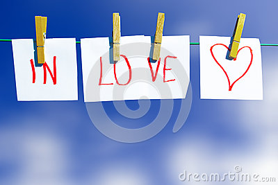 In love message - at clothes line