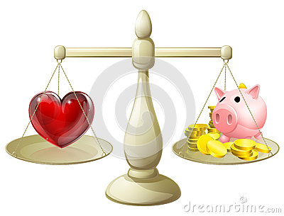 Love Or Money Balance Concept Stock Vector - Image: 41616200