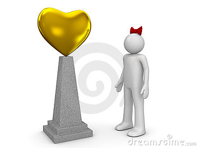 Love monument and woman