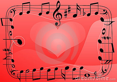 Love music heart, musical notes symbols background