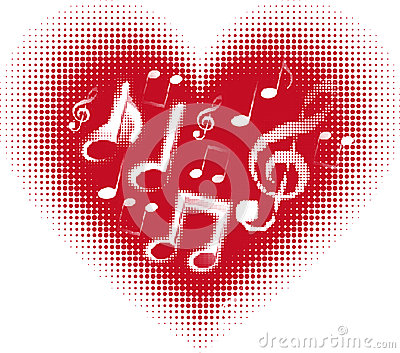 Love music. Music note in the heart