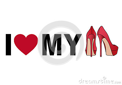 Love my shoes, vector