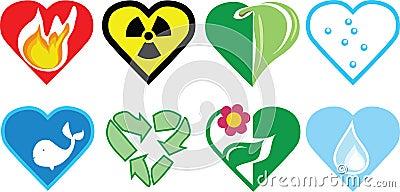 Love nature icon set