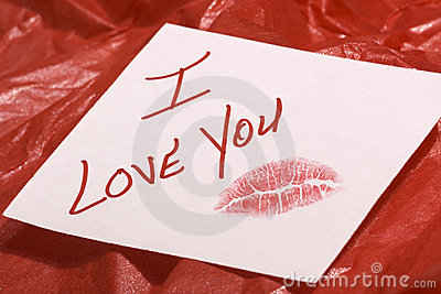 Love note on red gift wrap