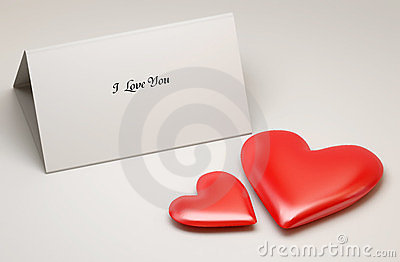 Love note and two red hearts