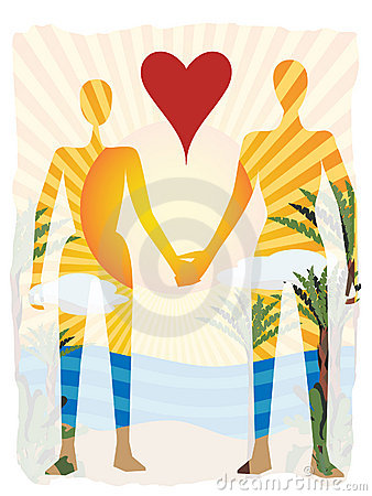 Love in paradise abstract couple silhouette beach