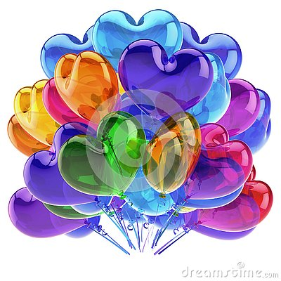 Free Love Party Heart Balloons Colorful Birthday Decor Blue Orange Green Stock Images - 128702184