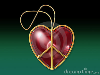Love peace sign as a christmas ornament with clipping path