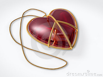 Love peace sign as a jewelry gift with clipping path