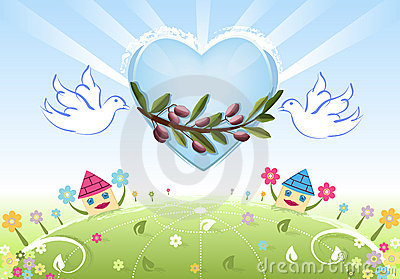 Love and Peace to the Earth with white doves