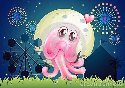 An in-love pink monster near the carnival