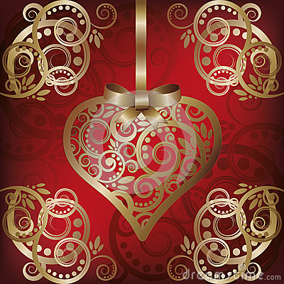 Love postcard with golden heart