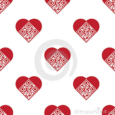 Love QR Code seamless pattern