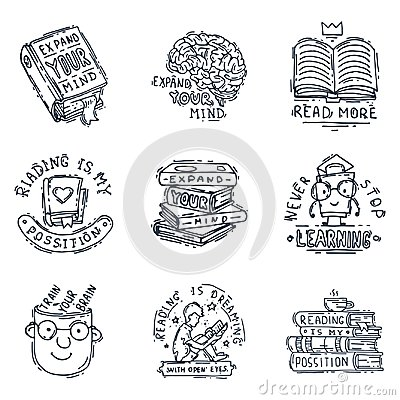 Free Love Reading Motivation Quote Phrases Badge Logo Bubble On Book Vector Illustration. Royalty Free Stock Photos - 102182638
