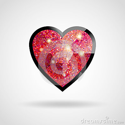 Free Love Red And Black Heart Glitter Ruby Royalty Free Stock Image - 91511736