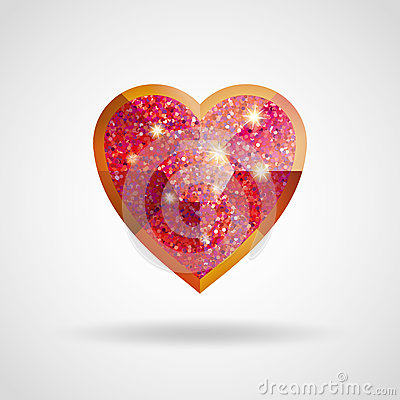 Free Love Red And Gold Heart Glitter Ruby Stock Photography - 91511872