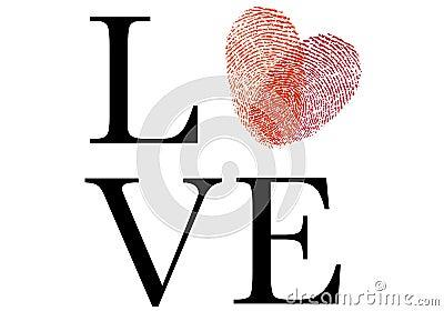 Love with red fingerprint heart, vector