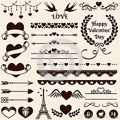 Free Love, Romance And Wedding Design Elements. Vector Set. Stock Image - 48904881