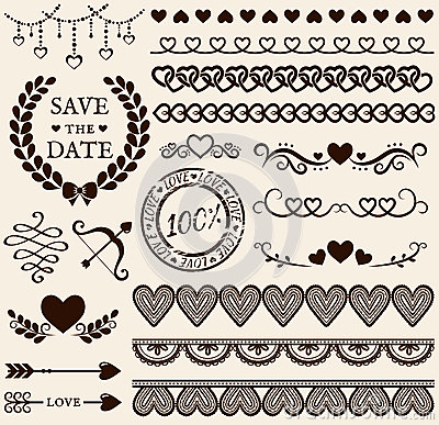 Free Love, Romance And Wedding Design Elements. Vector Set. Stock Images - 48904884