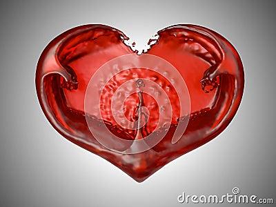 Love and Romance - Red liquid heart shape