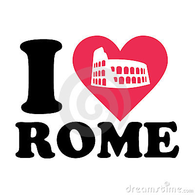 Love rome logo with coliseum