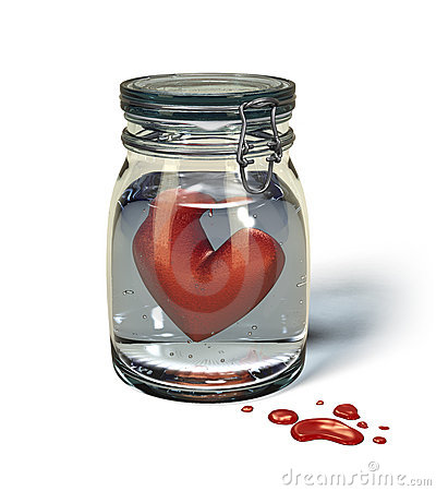Love s sorrow: Heart in a jar.