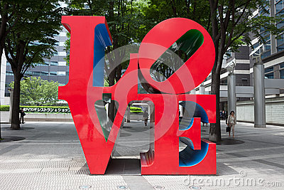 Love Sculpture in Japan Editorial Stock Image