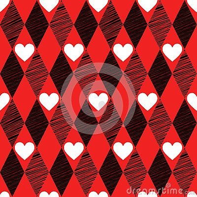 Love seamless background with rhombus and hearts