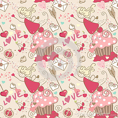 Love, seamless pattern