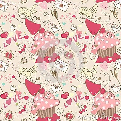 Love, seamless pattern