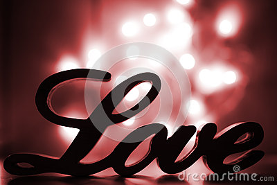 Love sign with red sparkle