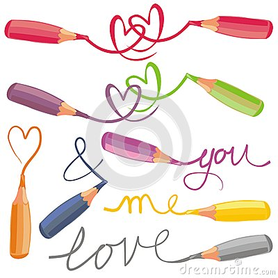 Love signs with colorful crayons