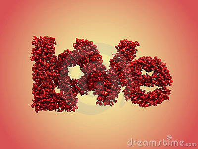 Love from small glossy hearts (clipping path)