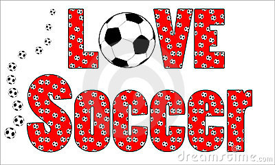 fun background of footballs soccer balls with the words love soccer ...