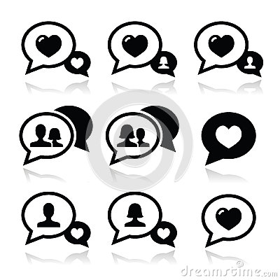 Love speech bubbles, couples  icons set