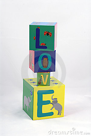 Love spelled with blocks