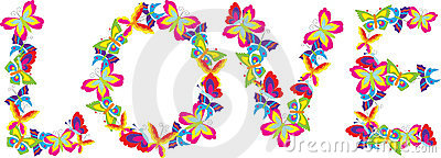 Love spelled with butterflies