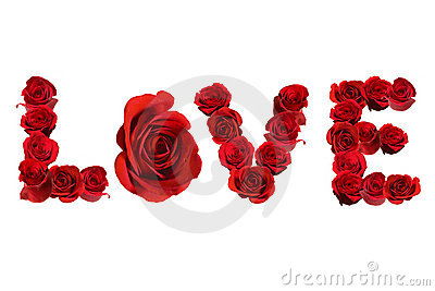 LOVE Spelled With Isolated Red Roses on White